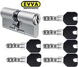 EVVA MCS Doppelzylinder mit 6 Design-Schlüssel schwarz, Länge (a/b) 36/61mm (c=97mm), einzigartige Magnet-Technologie, Not-u. Gefahrenfunktion BSZ, Modularbauweise SYMO, Aufbohr-, und Ziehschutz KZS