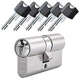 WINKHAUS RPE keyTec Doppelzylinder mit Not- und Gefahrenfunktion 60/35 inkl. 5 Schlüssel - Sicherheits-Türzylinder - Sicherungskarte - mit Sperrkugel und Rippenabfrage (Gleichschließung)
