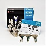 KESO 4000S Omega 41.415 Doppelzylinder inkl. 3 Trapezschlüssel + Sicherungskarte (30/85)