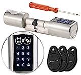 VisorTech Zahlen Türschloss: Elektronischer Tür-Schließzylinder, Transponder-Schlüssel, Zahlen-Code (Elektronisches Türschloss)