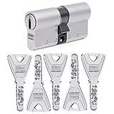 KESO 8000 Doppelzylinder mit Not- und Gefahrenfunktion 30/30 inkl. 5 Schlüssel - Wendeschlüssel-Sicherheitszylinder - Sicherungskarte - Bohrmuldenschlüssel - Patentschutz bis 2034 - Modulbauweise