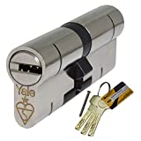 YALE Schließzylinder, 40/50,Euro-Standard, Rohrprofil, sicher gegen Brechen, Ausbau, Knacken, Dietriche, Bohrer, aus Nickel und uPVC-Verbundstoff