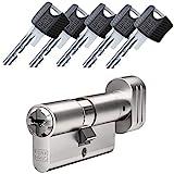 WINKHAUS RPE keyTec Knaufzylinder 30/35K inkl. 5 Schlüssel - Sicherheits-Türzylinder - Sicherungskarte - mit Sperrkugel und Rippenabfrage (K=Knaufseite) (Einzelschließung)