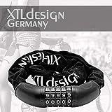 XTLdesign Kettenschloss Germany mit 5 Stellen Code - stabil, leicht, sicher - 80cm, 533g - Fahrradschloss Kettenschloss mit Sicherheitsstufe A - Fahrrad Zahlen Ketten Schloss (Zahlen Kettenschloss)