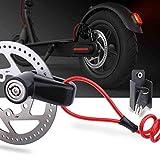 TOMALL Scheibenbremsschloss Diebstahlsicheres Stahldrahtschloss für Xiaomi Mijia M365 Motorrad-Fahrradfelgen Locker mit Reminder