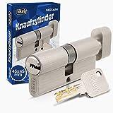 GERCAR Pro Knaufzylinder 45/45 Massiver Schließzylinder mit Knauf Zylinderschloss Türschloss - aus Messing Matt Vernickelt - inkl. 5 Schlüssel - Wendeschlüssel - Länge: 90 mm, A:45 B:45 - 1x