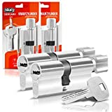 GERCAR Knaufzylinder 40/40 Schließzylinder 2er Set Gleichschließend Zylinderschloss Türschloss - inkl. 10 Schlüssel - Länge: 80mm , A:40 B:40 - 2er Set